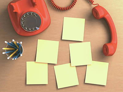 Red Telephone And Sticky Notes Print by Ktsdesign