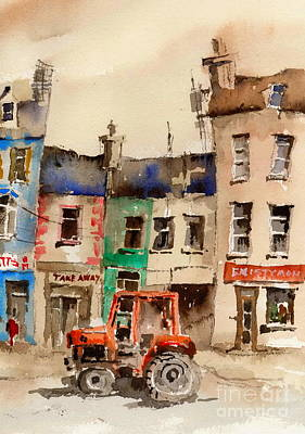 Red Tractor In Ennistymon Clare Print by Val Byrne