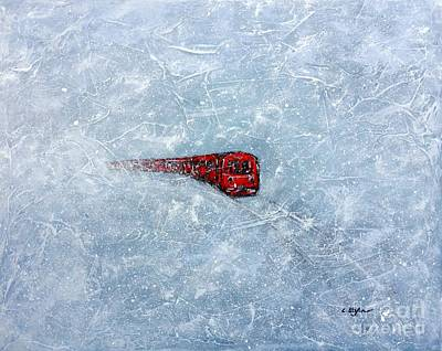 Artistic Painting - Red Train Braving The Winter by Cristina Stefan