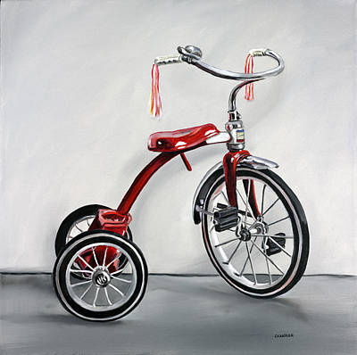 Spokes Painting - Red Tricycle 1 by Gail Chandler