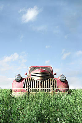 Old Trucks Digital Art - Red Truck by Cynthia Decker