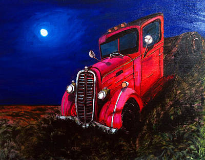 Grid Painting - Red Truck by Deb Wolf
