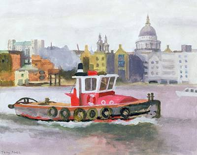 Cathedral Drawing - Red Tug Passing St. Pauls, 1996 by Terry Scales