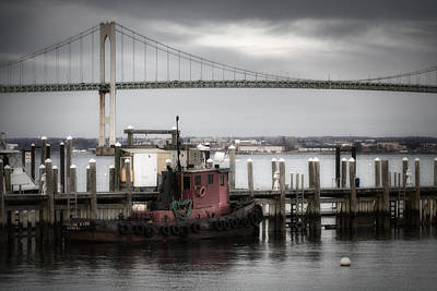 Red Tugboat And Newport Bridge II Original by Joan Carroll