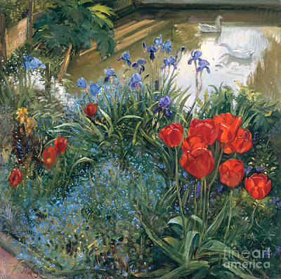 Geese Painting - Red Tulips And Geese  by Timothy Easton