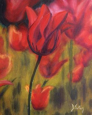 Floral Painting - Red Tulips by Donna Tuten