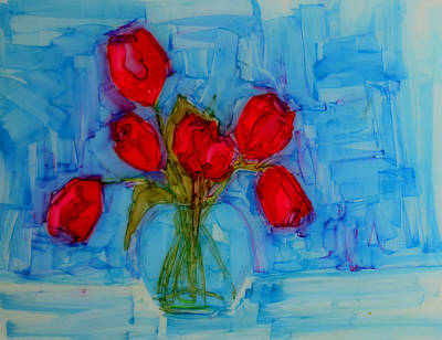 Red Tulips With Blue Background Print by Patricia Awapara
