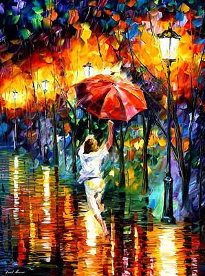 Red Umbrella - Palette Knife Oil Painting On Canvas By Leonid Afremov Original by Leonid Afremov
