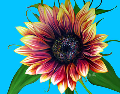 Sunflower Painting - Red Velvet by Laura Bell