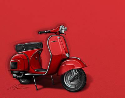 Urban Art Digital Art - Red Vespa by Etienne Carignan