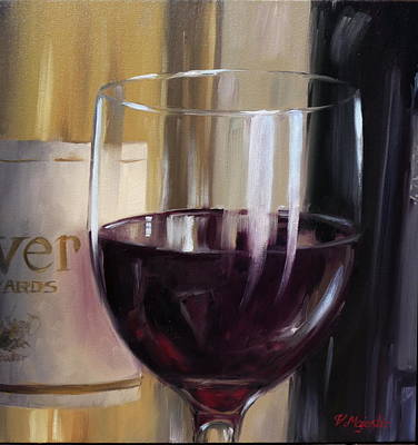 Hand Painted Wine Glass Painting - Red by Viktoria K Majestic
