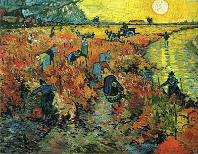 Red Vineyards At Arles 1888 Print by Vincent Van Gogh