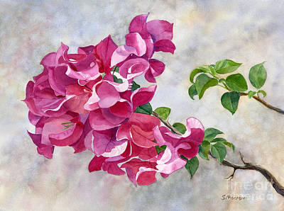 Pink Flower Branch Painting - Red Violet Bougainvillea With Textured Background by Sharon Freeman