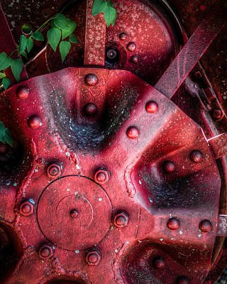 Steam Tractor Photograph - Red Wheel by James Barber