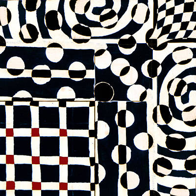 Op Art Photograph - Red White Black Number 2 by Carol Leigh