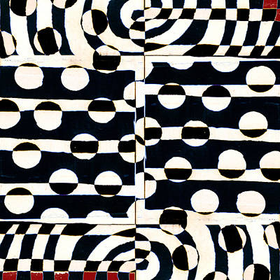 Red White Black Number 3 Print by Carol Leigh