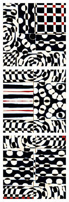 Op Art Digital Art - Red White Black Number 4 by Carol Leigh