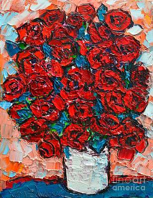 Vivid Colour Painting - Red Wild Roses by Ana Maria Edulescu