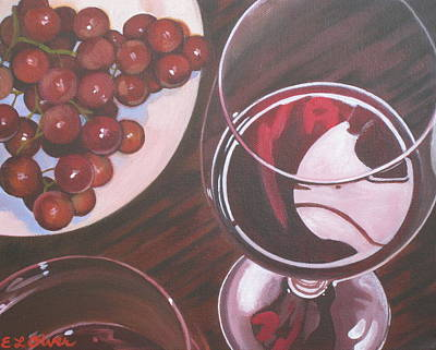 Red Wine And Grapes Print by Elisabeth Olver