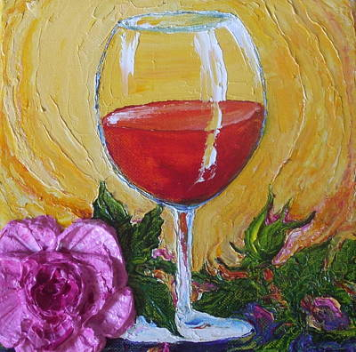 Red Wine And Pink Rose Print by Paris Wyatt Llanso
