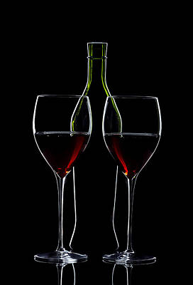 Red Wine Bottle And Wineglasses Silhouette Print by Alex Sukonkin