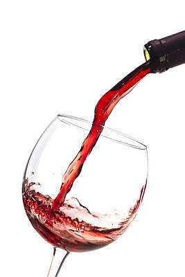 Wine Bottle Photograph - Red Wine Pouring Into Wineglass Splash by Dustin K Ryan