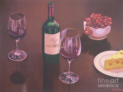 Red Wine Still Life II Print by Elisabeth Olver