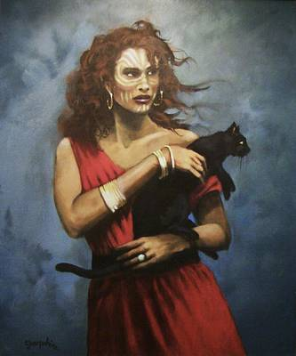 Witch Cat Painting - Red Witch by Tom Shropshire