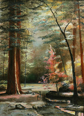 Masonite Painting - Redwood Forest by Cecilia Brendel