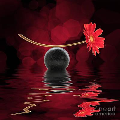 Zen Digital Art - Red Zen Gerbera by Delphimages Photo Creations