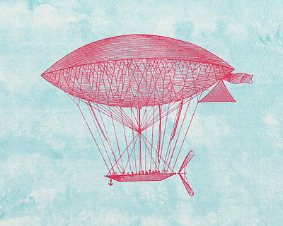 Red Zeppelin - Retro Airship Print by World Art Prints And Designs