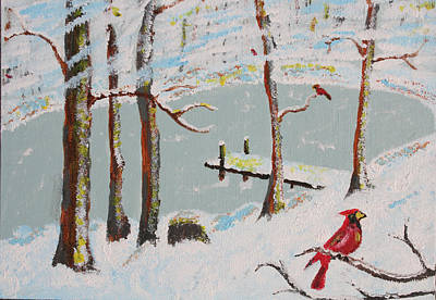 Harold Greer Painting - Redbird Winter by Harold Greer