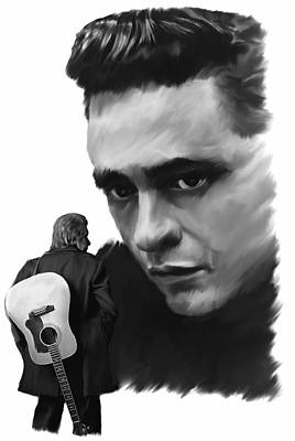 Johnny Cash Drawing - Redemption Jonny Cash by Iconic Images Art Gallery David Pucciarelli