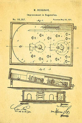 Replay Photograph - Redgrave Bagatelle Patent Art 1871 by Ian Monk