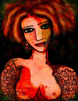 Black Top Mixed Media - Redhead by Natalie Holland