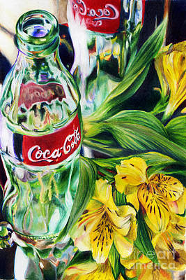 Glass Bottle Drawing - Red.labels by Elaine Ryan