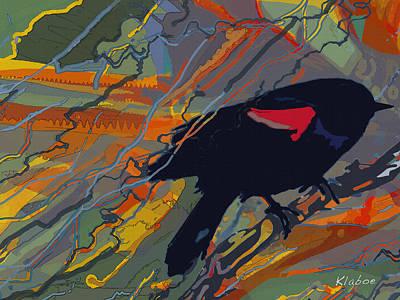 Blackbird Mixed Media - Redwing by David Klaboe