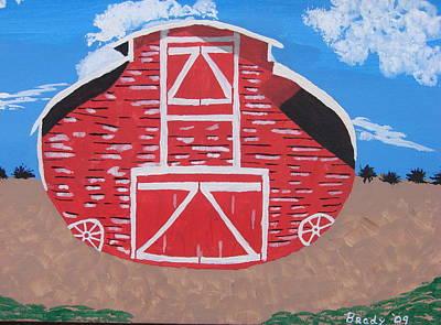 Surrealistic Painting - Redwood Farm Barn by Brady Harness