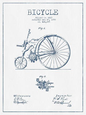 Reed Bicycle Patent Drawing From 1890 - Blue Ink Print by Aged Pixel
