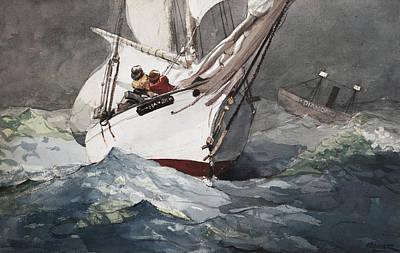 Reefing Sails Around Diamond Shoals Cape Hatteras Print by Celestial Images