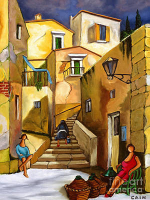 Life In Italy Painting - Refill The Wine Prego by William Cain