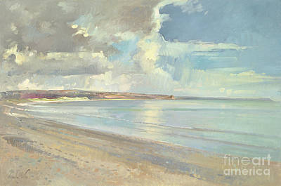 Cloudy Painting - Reflected Clouds Oxwich Beach by Timothy  Easton