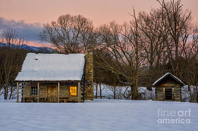 Log Cabin Art Photograph - Reflected Warmth by Anthony Heflin