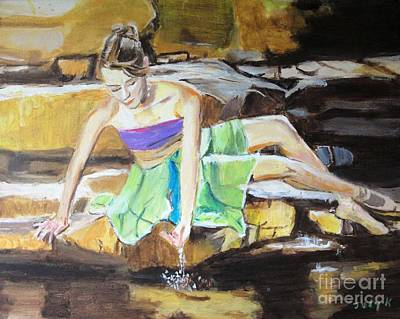 Figurative Painting - Reflecting by Judy Kay