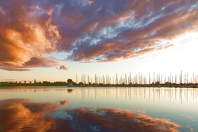 Reflecting On Clouds And Yachts - Lake Ontario Impressions Print by Georgia Mizuleva