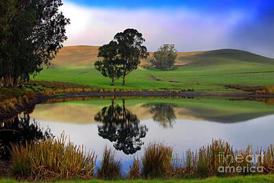 Reflecting Pond In Bucolic Stillness Amongst The Hills Print by Wernher Krutein