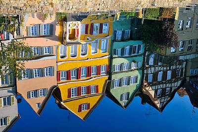 Reflection Of Colorful Houses In Neckar River Tuebingen Germany Print by Matthias Hauser