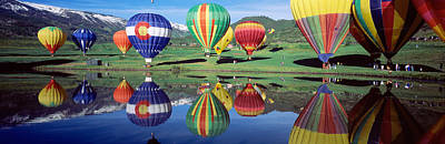 Reflections Of Sky In Water Photograph - Reflection Of Hot Air Balloons On by Panoramic Images