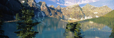Moraine Lake Photograph - Reflection Of Trees In Water, Moraine by Panoramic Images
