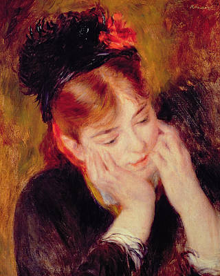 Auburn Painting - Reflection by Pierre Auguste Renoir